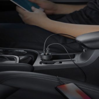 Key Features With dual ports crammed full of high-speed charging technology, PowerDrive Speed+ 2 has a lot going on under the hood.Kick your charging into high gear with a USB-C Power Delivery port, charging flagship smartphones and tablets at top speed. Detect connected standard USB devices to deliver an optimized charge with the Anker-exclusive PowerIQ port. Power Delivery for USB-C Phones and Tablets PowerIQ for Standard USB Devices Compact Size Universal Compatibility Compatible Devices IPhone 11, 11pro , 11 pro max, X, iPhone 8 Plus, iPhone 8, iPad 2017, MacBook 12'' 2016, iPad Pro 10.5'', MacBook Pro 13.4'' 2017, Huawei Mate Book, Mate9 Nexus 5X\Nexus 6P, Pixel C, google Pixel Samsung Galaxy Tabpro S W700 and many more (consult your device's technical specs to confirm compatibility) Brand Anker Color Black Power Source DC Item Weight 1.4 Ounces One Charger, Any Device: Charge USB-C and standard USB phones and tablets, all from one travel-ready car charger. Faster Than Fast: Power Delivery technology provides a blazing-fast charge to USB-C devices, while our flagship Power 2. 0 technology pumps out full-speed charging for original USB. Ultra-Compact: Smaller than a credit card, for unimpeded port access and the perfect fit in any vehicle. Certified Safe: Anker's Multipotent safety system and full UL certification mean complete protection for you and your devices. What You Get: Power Drive Speed+ 2 PD with 1 PD and 1 PIQ car charger (cable not included), welcome guide, our worry-free 12-month